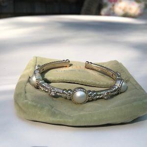 Judith Ripka Sterling cuff bracelet pearls